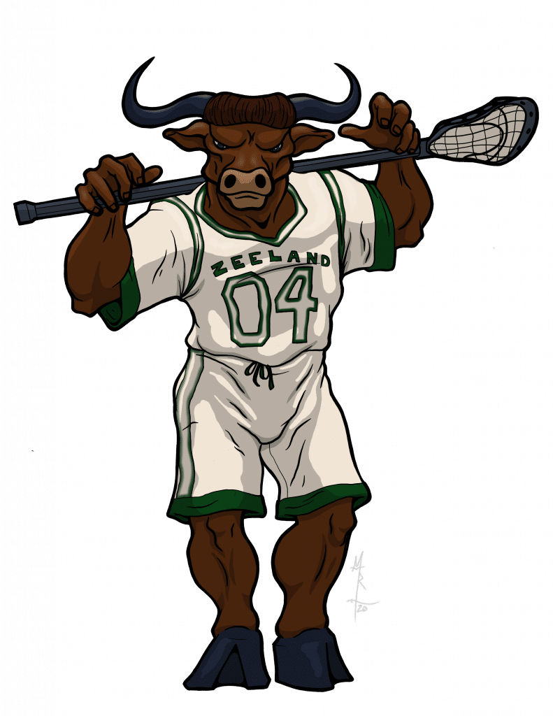 Color illustration of a minotaur lacrosse player.