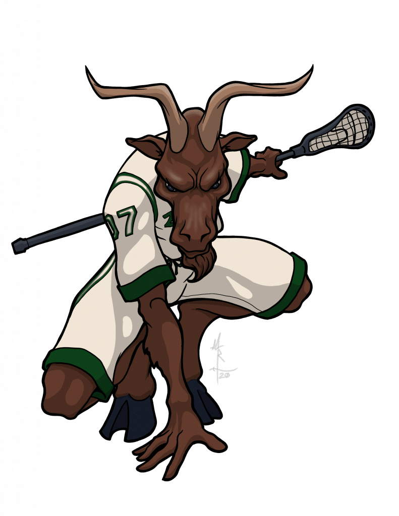 Color illustration of a satyr as a lacrosse player.