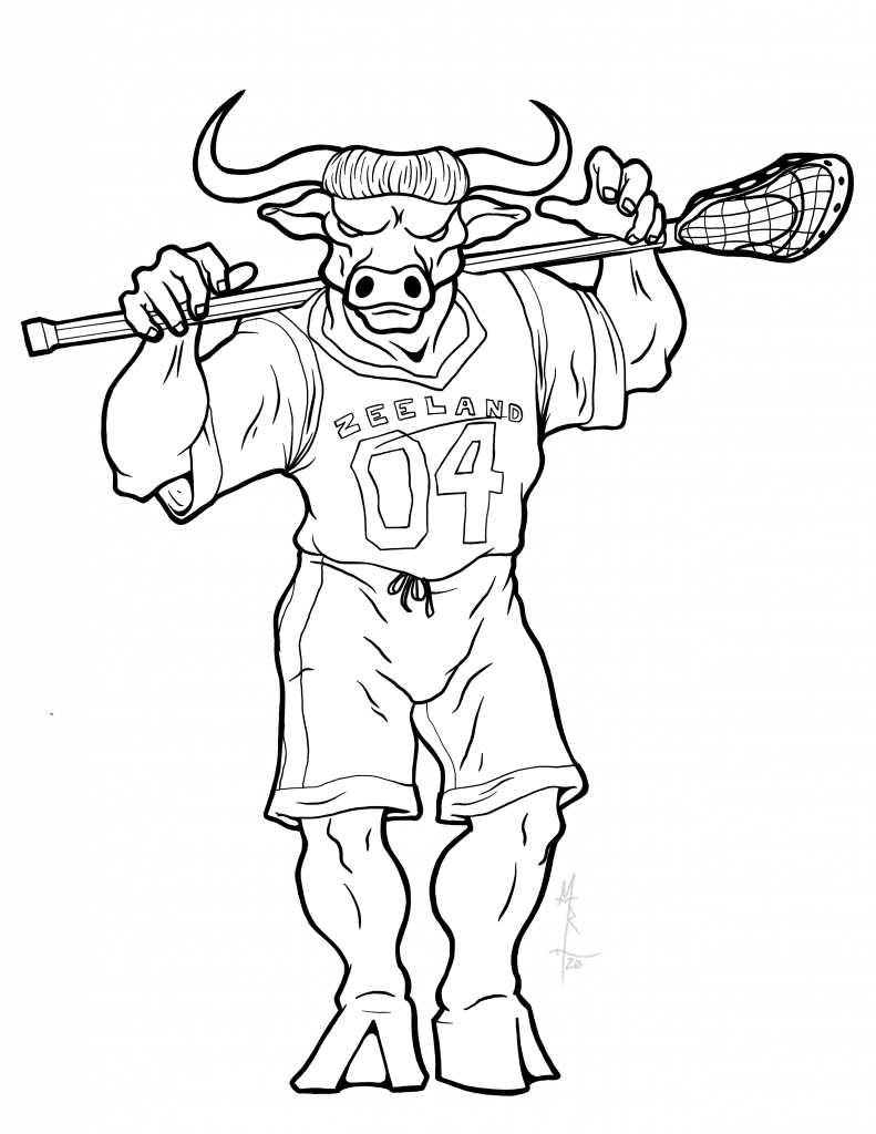 Digital inks of a minotaur lacrosse player.