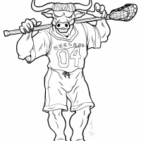 minotaur lacrosse player inks black and white