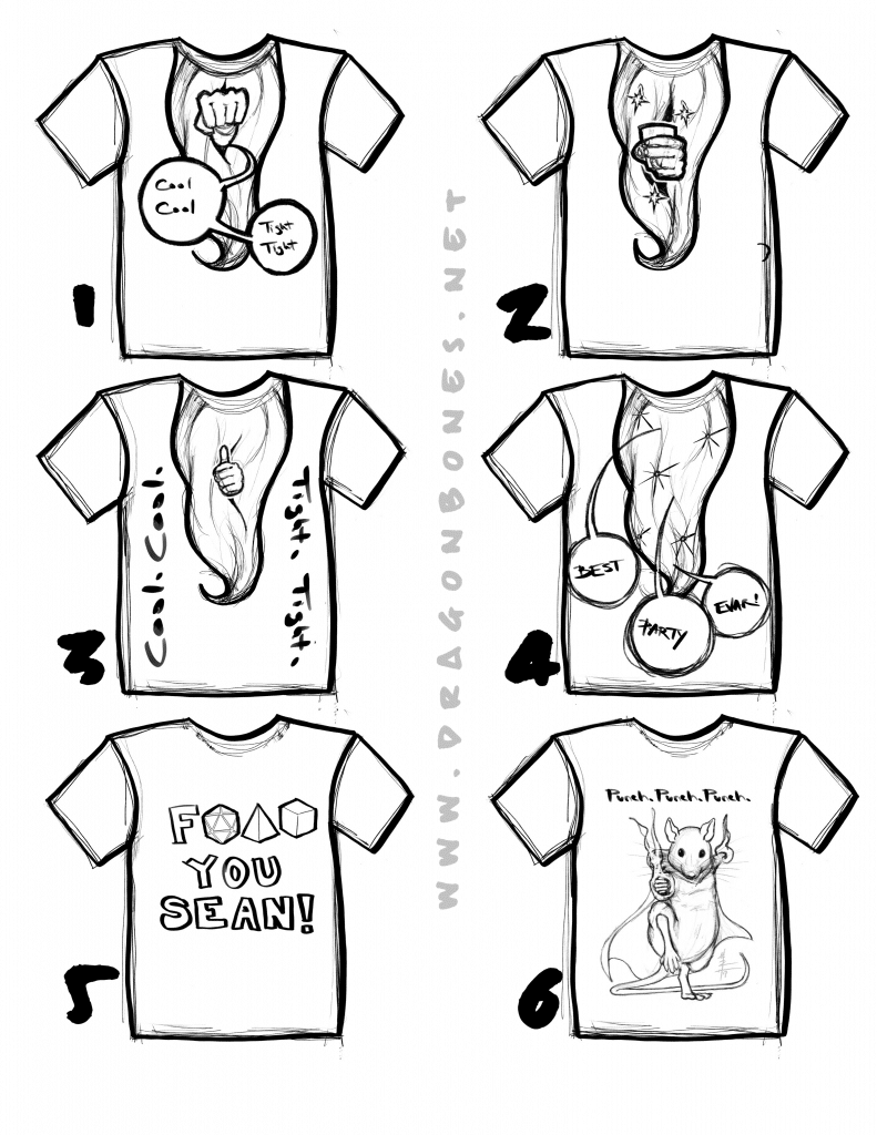 Tabletop Champions T Shirt Design Roughs 1