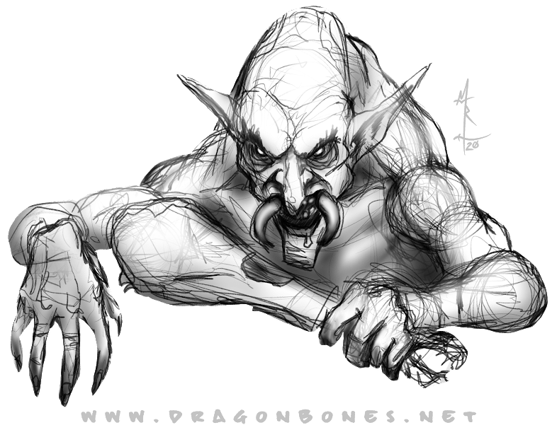 sketch of a troll eating in greyscale