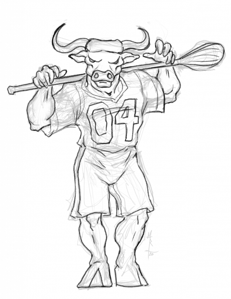 Sketch of a minotaur lacrosse player.