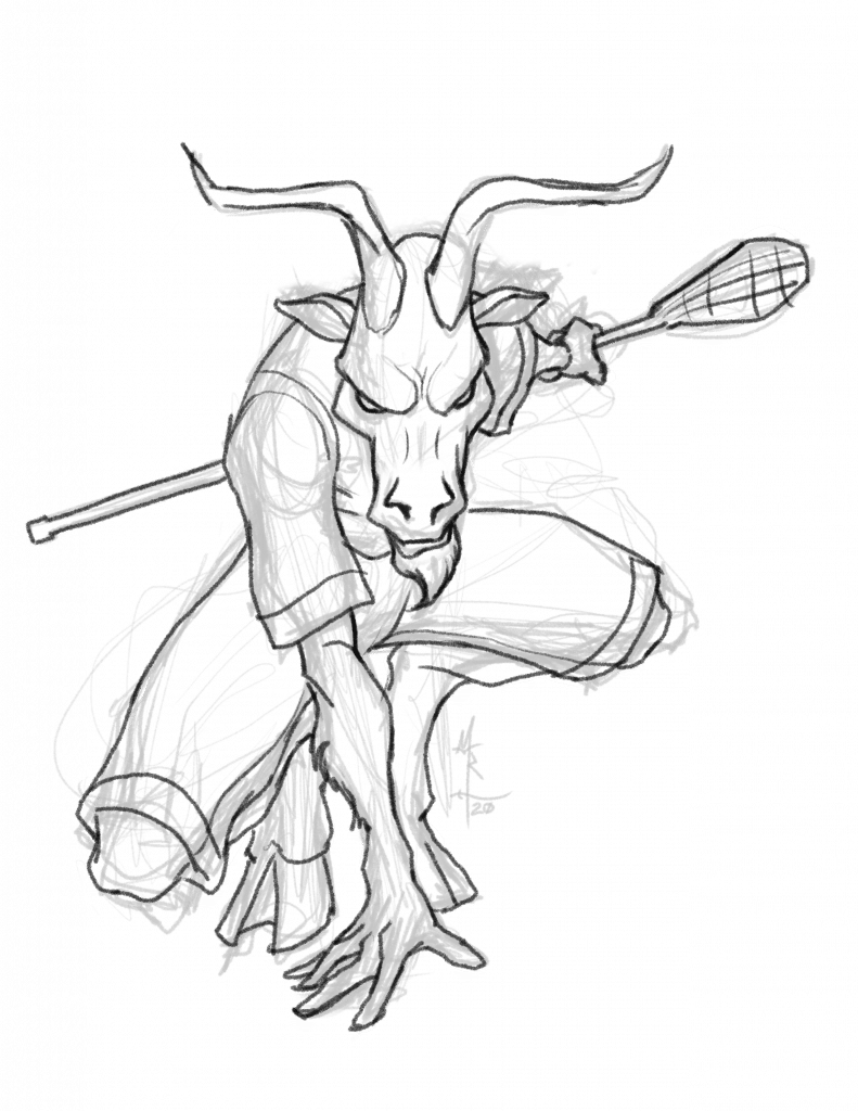 Sketch of a satyr as a lacrosse player.