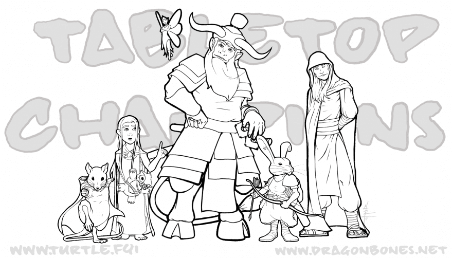 Tabletop Champions Adult Coloring Book Page