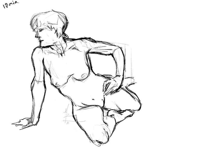 10 minute live model sketch