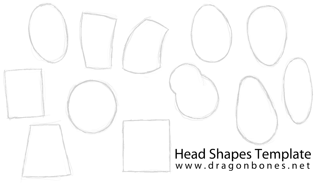 drawing exercise head shapes template d r a g o n b o n e s. Black Bedroom Furniture Sets. Home Design Ideas
