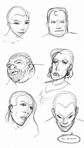 head shapes warm up sketches