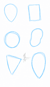 head shapes warm up sketches blue lines