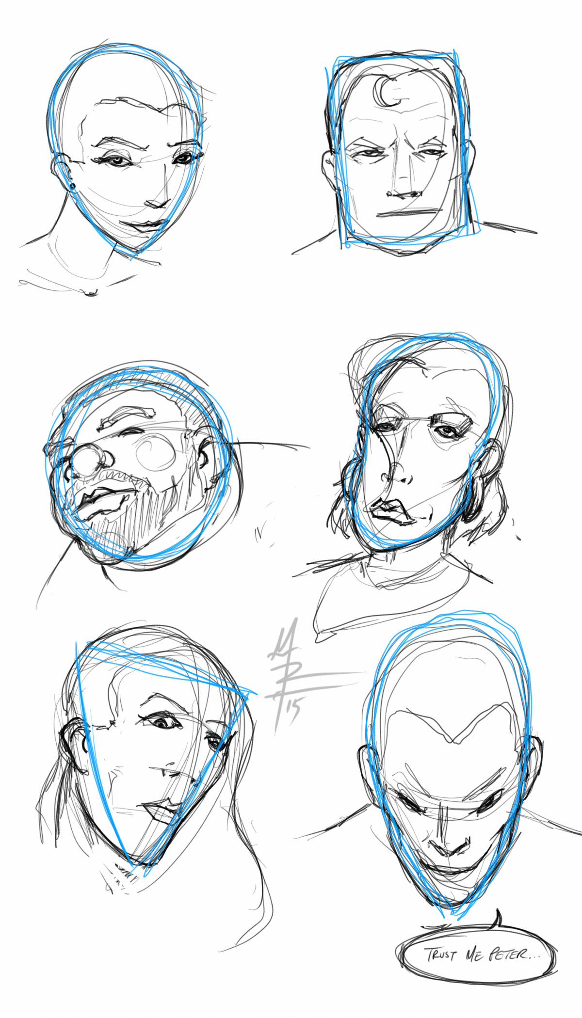 head shapes warm up sketches - combo version