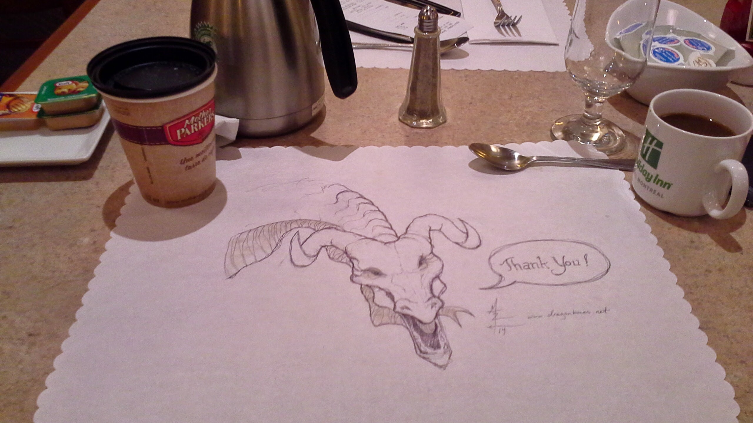 dragon head on a place mat