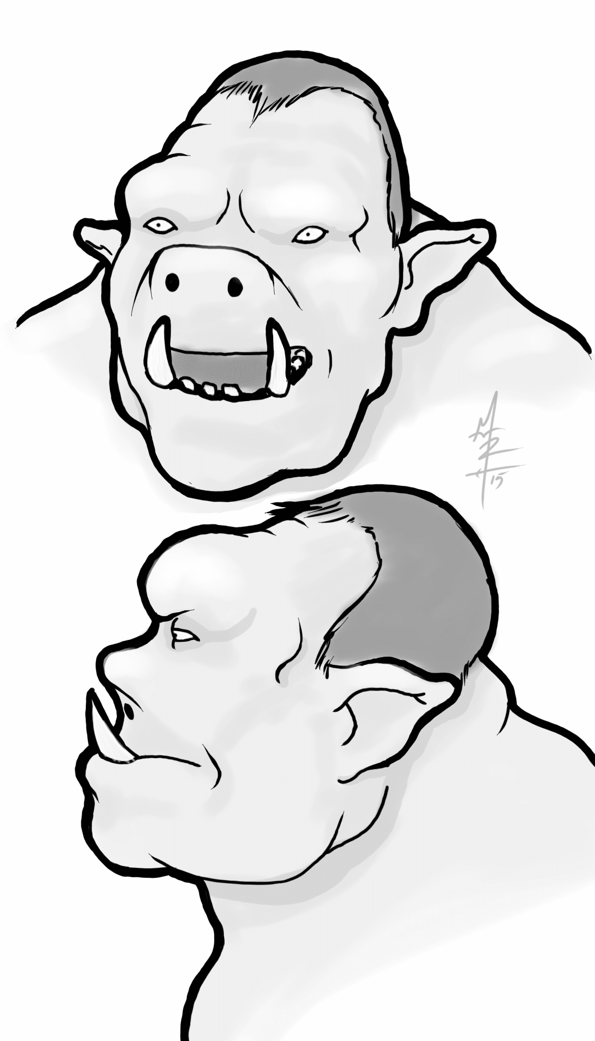 Orc Concept Sketches - Orc Heads