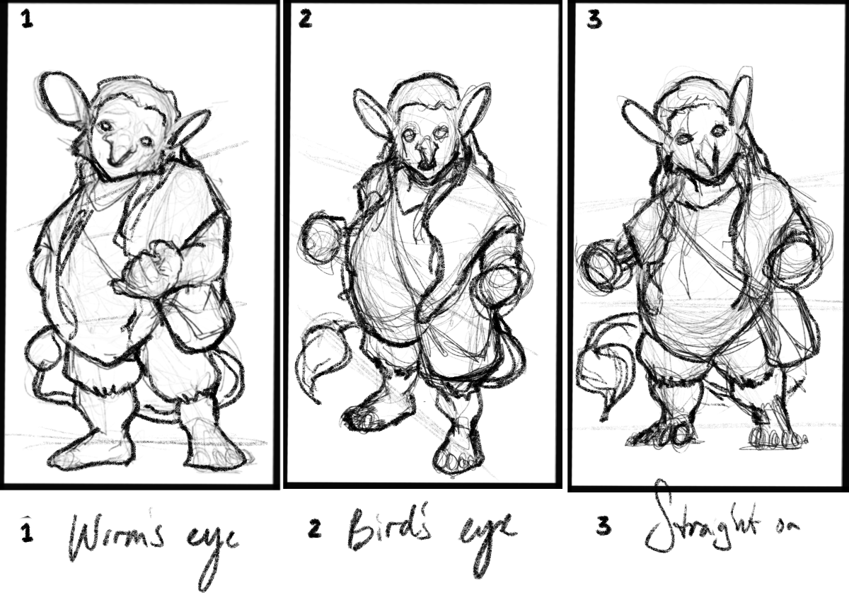 Sample thumbnails of the character / pose.