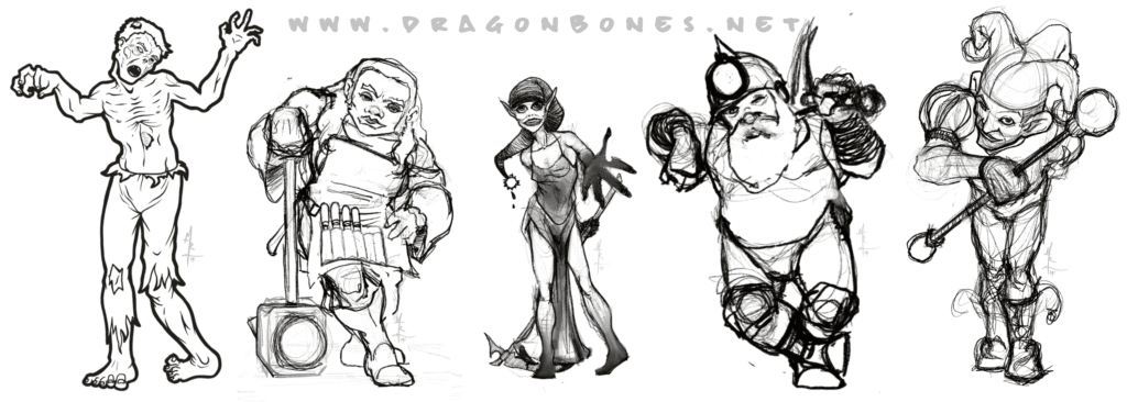 Sketches of a few of the upcoming game from IonQuest Games!