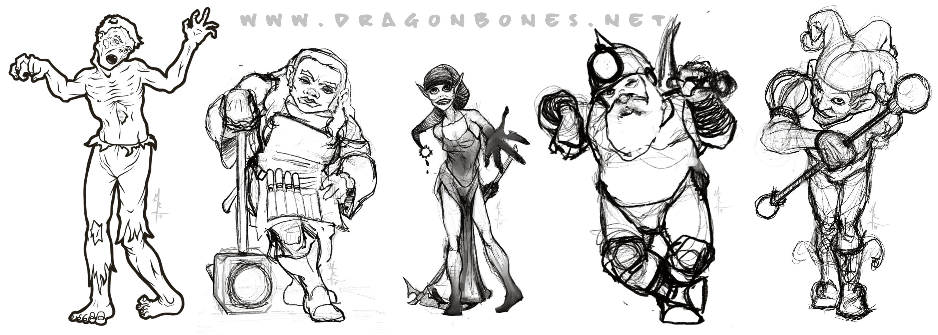 Sketches of a few of the characters for an upcoming game by IonQuest Games!