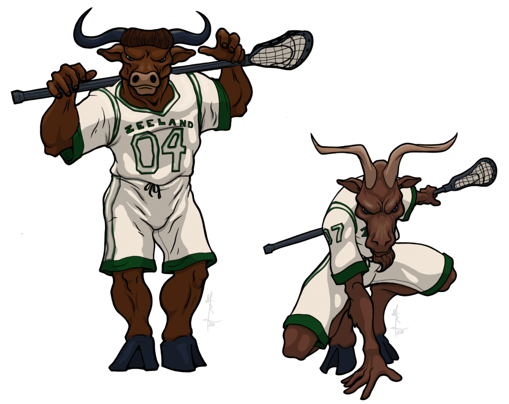 Lacrosse Monsters - illustration of a minotaur and a satyr as lacrosse players.