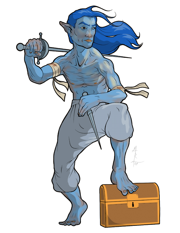 Dom the blue half elf rogue sorcerer as he first arrived on the ship which would become his home.